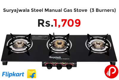 Suryajwala Steel Manual Gas Stove (3 Burners) @ 1709 - Flipkart