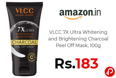 VLCC 7X Ultra Whitening and Brightening Charcoal Peel Off Mask @ 183 - Amazon India