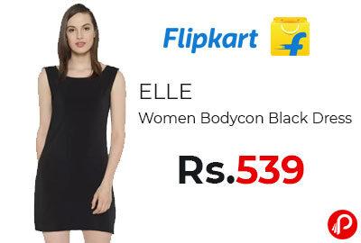 ELLE Women Bodycon Black Dress @ 539 - Flipkart