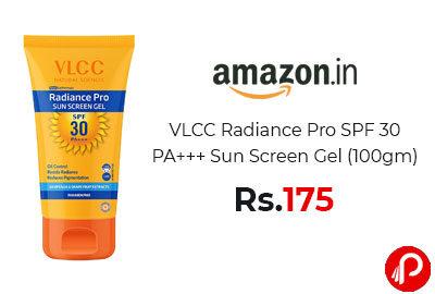 VLCC Radiance Pro SPF 30 PA+++ Sun Screen Gel (100gm) @ 175 - Amazon India