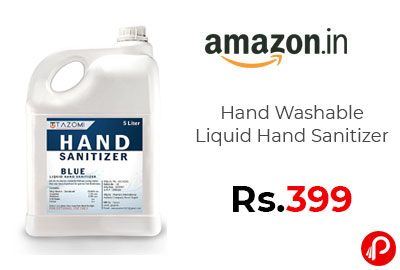 Hand Washable Liquid Hand Sanitizer 5 Ltr @ 399 - Amazon India