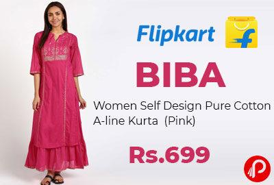 Women Self Design Pure Cotton A-line Kurta @ 699 - Flipkart