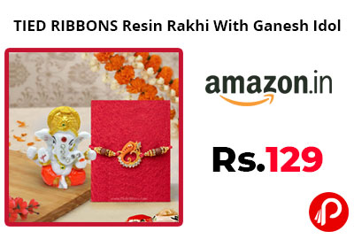 TIED RIBBONS Resin Rakhi With Ganesh Idol @ 129 - Amazon India
