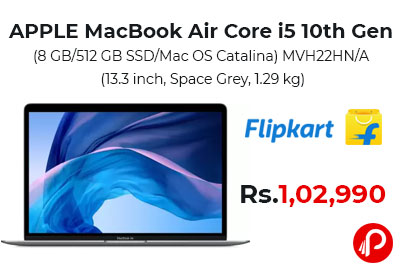 APPLE MacBook Air Core i5 10th Gen @ 1,02,990 - Flipkart