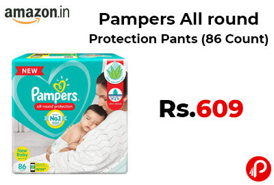 Pampers All round Protection Pants 86 Count @ 609 - Amazon India