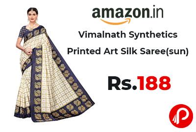 Vimalnath Synthetics Printed Art Silk Saree @ 188 - Amazon India