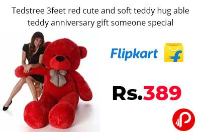 3 Feet red cute and soft teddy bear @ 389 - Flipkart
