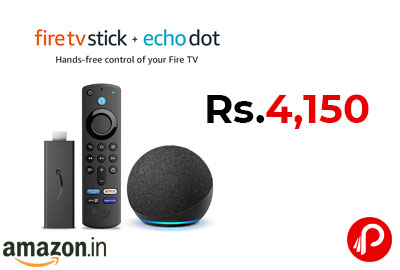 Echo Dot 4th Gen (Black) Combo with Fire TV Stick @ 4,150 - Amazon India