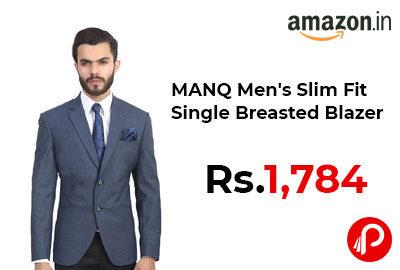 MANQ Men's Slim Fit Single Breasted Blazer @ 1,784 - Amazon India
