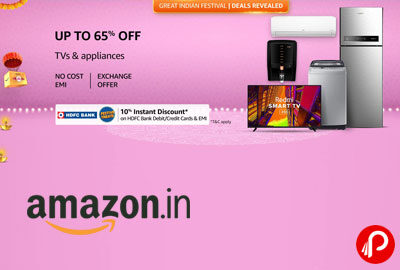 Upto 65% off on TV & Appliances - Amazon India