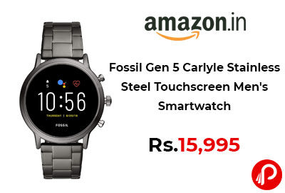 Fossil Gen 5 Carlyle Stainless Steel Touchscreen Men's Smartwatch @ 15,995 - Amazon India