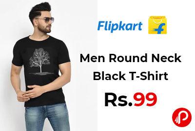 Printed Men Round Neck Black T-Shirt @ 99 - Flipkart